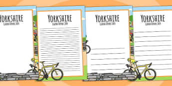 Yorkshire Grand Depart Page Borders - tour de france, writing aid