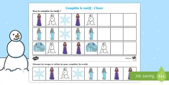 Motif à compléter Conte de fée d'hiver Feuille d'activités - Hiver, winter, pattern, complete, compléter, terminer, motif, séquence, sequence, image, picture,