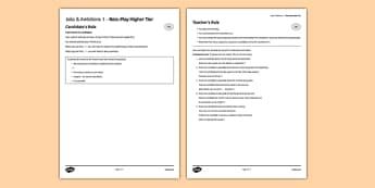 Les métiers et les projets 1 Jeu de rôleHigher Tier -  EAL, translated, conversation, speaking