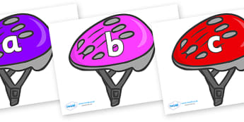 Phase 2 Phonemes on Bike Helmets (Multicolour) - Phonemes, phoneme, Phase 2, Phase two, Foundation, Literacy, Letters and Sounds, DfES, display
