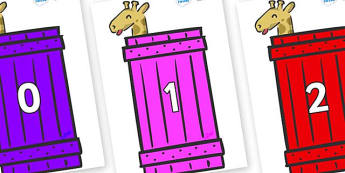 Numbers 0-50 on Giraffes (Crate) to Support Teaching on Dear Zoo - 0-50, foundation stage numeracy, Number recognition, Number flashcards, counting, number frieze, Display numbers, number posters