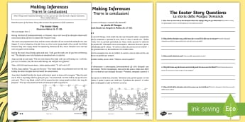 KS2 Easter Story Inference Differentiated Activity Sheets - English/Italian - UKS2, LKS2, Key Stage Two, Key Stage 2, Easter, Easter Story, Jesus, Last Supper, Jerusalem, donkey,