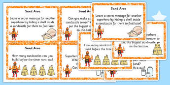 EYFS Superhero Themed Sand Area Challenge Cards - superhero