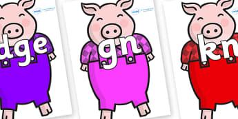 Silent Letters on Pigs - Silent Letters, silent letter, letter blend, consonant, consonants, digraph, trigraph, A-Z letters, literacy, alphabet, letters, alternative sounds