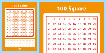 Large 100 Square Poster - 100 square, poster, display, numbers