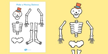 Funny Bones Make a Moving Skeleton (A4) - Funny Bones, Janet and Alan Ahlberg, story, story book, story book resources, story sequencing, story resources, skeleton, our body, all about me,