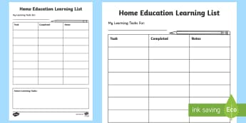 Home Education Learning Checklist - rning List, Jobs List, Daily tasks, organise day, to-do list, daily planner