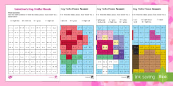 Valentine's Day Themed Mixed Operations Mosaics - Valentine's Day,  Feb 14th, love, cupid, hearts, valentine,