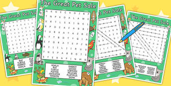 - pets, animals, word search, game