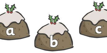 A-Z Alphabet on Christmas Puddings - Christmas, xmas, pudding, advent, nativity, santa, father christmas, Jesus, tree, stocking, present, activity, cracker, angel, snowman, advent , bauble, A-Z,  Alphabet frieze, Display letters, Letter posters, A-Z