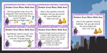 EYFS Superhero Themed Outdoor Gross Motor Skills Area Challenge Cards