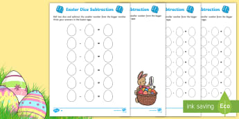 Differentiated Easter Dice Subtraction Activity Sheet - Australia Easter Maths, easter, australia, mathematics, subtraction, number, place value, number and