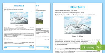 Volcano Themed Cloze Test Activity Sheets - English, Assessment, Cloze Tests, volcano, volcanoes, reading test, comprehension, end of year, fill