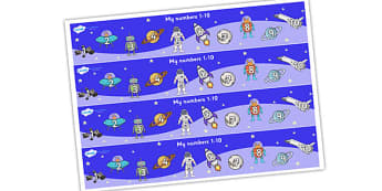 My Space Themed Number Strips 1-10 - numbers, numerstrip, number strip, counting, space themed, space, in space, space number strips, space 1-10, counting on, counting back, maths, math, numeracy, number track, number line