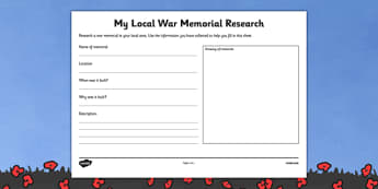 Local War Memorial Research Worksheet - australia, ANZACs, First World War, WW1, World War One, History, research, memorial, local