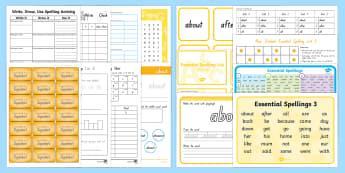Essential Spelling List 3 Resource Pack - NZ Literacy Resources, new zealand, spelling,  spellings, literacy