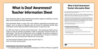 Deaf Awareness Week Teaching Information Guide