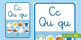 Póster: La letra C y la letra Qu - lecto, leer, lectura, sonidos, letra , lecto-escritura, letra c, letra qu, sonidos, fónemas,Spanish