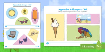Feuille d'activités : Apprendre à découper - L'été - apprendre à découper, été, découpages, découper, motricité fine, feuille d'activités, Summe