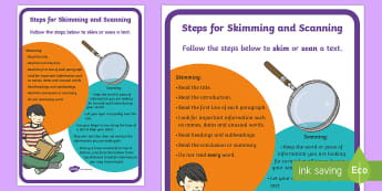 Step by Step Skimming and Scanning Strategy A4 Display Poster - Literacy, reading comprehension strategies, skimming, scanning, skimming and scanning, reading strat