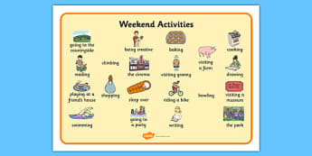 Weekend Activities Word Mat - what I do at the weekend, weekend, word mat, writing aid, activities out of school