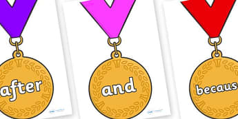 Connectives on Gold Medals - Connectives, VCOP, connective resources, connectives display words, connective displays