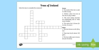 Trees of Ireland Crossword - trees, ireland, ash, oak, beech, sycamore, horse chestnut, willow, holly, hawthorn, Irish