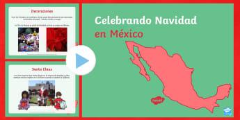 Celebrando Navidad en México  - Navidad, México, powerpoitn, presentación, celebrando la Navidad, cultura