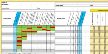 KS1 Mathematics Analysis Grid for 2016 SATs Past Paper Assessment Spreadsheet - KS1, mathematics analysis, grid, assessment grid, past paper 2016, maths paper, arithmetic, reasonin