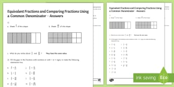 Equivalent Fractions and Comparing Fractions Using Common Denominators Activity Sheet - fractions, equivalent, common denominators, worksheet, comparing fractions, ordering fractions, equi