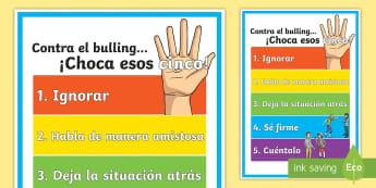 Póster DIN A: ¡Choca esos cinco! - Bulling - Bulling, acoso, acoso escolar, molestar, abuso, abusón, matón, problemas de convivencia, convivenc