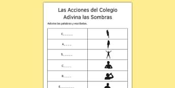Las Acciones del Colegio Adivina las Sombras Spanish Shadows Worksheet - spanish, Grammar, gramatica, verbs, verbos, infinitives, infinitivos, school actions, acciones colegio, shadows, sombras, ficha, worksheet