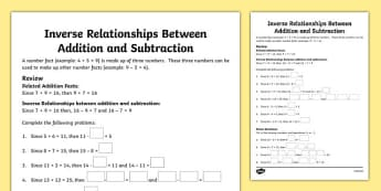 Inverse Relationships Between Addition and Subtraction Activity Sheet - canada, Mathematics, addition, subtraction, transformations, translation, reflection, rotation, angles, geometry, fractions, worksheet