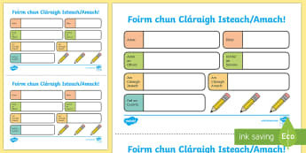 The Nursing Home Sign In Sign Out Activity Sheet Gaeilge - Aistear, Infants, English Oral Language, School, The Garda Station, The Hairdressers, The Airport, T