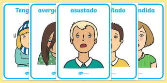 Emotions and Expressions Posters Spanish - feelings, emotions, facial, sad, happy, vocabulary, PSHE, Spanish, Spain, Espanol, ourselves,