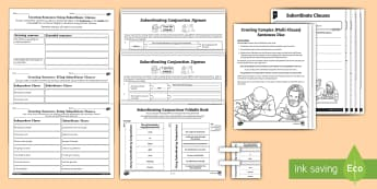 Main and Subordinate Clause Activity Sheet Resource Pack - sentence, main clause, subordinate clause, complex sentence, multi-clause, subordination, spag, gps,