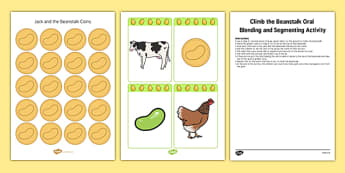 Climb The Beanstalk Oral Blending And Segmenting Activity Resource Pack Instructions - Jack and the Beanstalk, phonics, phase 1,voice sounds, aspect 6, aspect 7, traditional tales,