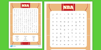 Basketball Word Search - usa, basketball, nba, national basketball association, word search