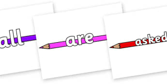 Tricky Words on Pencil Crayon - Tricky words, DfES Letters and Sounds, Letters and sounds, display, words