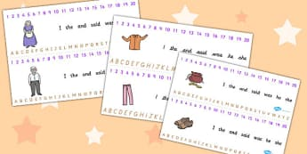 The Elves and the Shoemaker Combined Number and Alphabet Strips