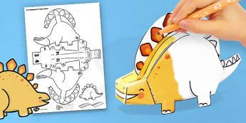 3D Stegosaurus Paper Model Activity - stegosaurus, paper, model, craft