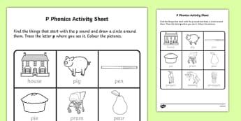 p Phonics Activity Sheet-Irish, worksheet