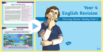Year 4 English Revision Morning Starter Weekly PowerPoint Pack 2 - Y4, spag, reading, writing, sentences, filler, morning task,