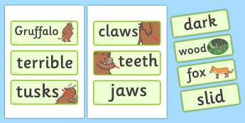 The Gruffalo Word Cards - The Gruffalo, resources, mouse, fox, owl, snake, Gruffalo, fantasy, rhyme, story, story book, story book resources, story sequencing, story resources, Word cards, Word Card, flashcard, flashcards,