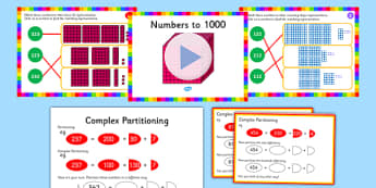 Recognise the Place Value of Each Digit in a Three Digit Number Lesson Pack - maths year 3, place value, 3-digit numbers, complex partitioning
