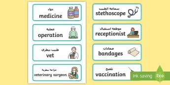 Vets Surgery Labels Arabic/English - Vets Surgery Labels - Vet Surgery, pets, pet, role play, vets role play, labels, label, vet, operati