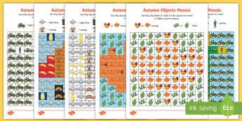 Autumn Mosaic Images Activity Sheets - autumn, mosaic, colouring, activity sheets, worksheets, seasons, visual art,