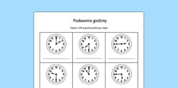 Arkusz Podaj godzinę po polsku, worksheet
