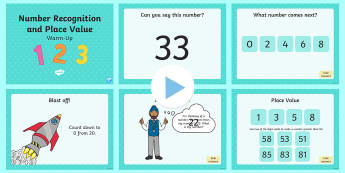 Year 1 Number Recognition and Place Value Warm-Up PowerPoint - maths, KS1, number, place value, more than, less than, equals, equal to, greater than, counting, cou