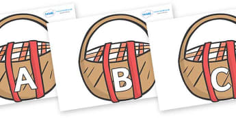 A-Z Alphabet on Picnic Baskets to Support Teaching on The Lighthouse Keeper's Lunch - A-Z, A4, display, Alphabet frieze, Display letters, Letter posters, A-Z letters, Alphabet flashcards